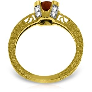 14K SOLID GOLD RING WITH NATURAL DIAMONDS & GARNET